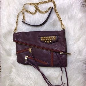 REBECCA MINKOFF Biker Clitch Crossbody Purple Stud